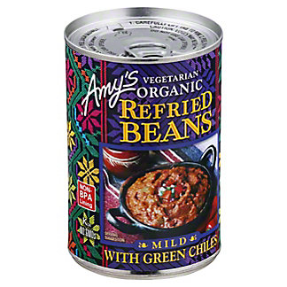 Amys Vegetarian Organic Refried Beans, with Green Chiles, Mild,15.4OZ