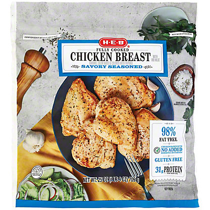 H-E-B Fully Cooked Savory Seasoned Chicken Breasts, 25 OZ