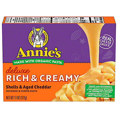 Annie's Homegrown Creamy Deluxe Shells and Real Aged Cheddar Sauce, 11 oz