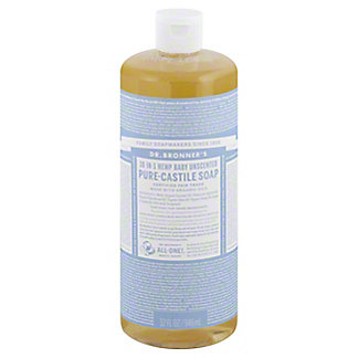 Dr. Bronner's 18-in-1 Hemp Baby Unscented Pure-Castile Soap,32 OZ