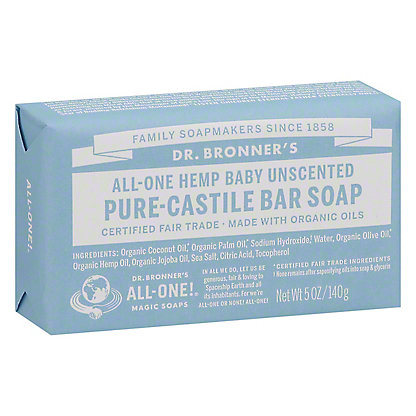 Dr  Bronner's Magic Soaps All-One Hemp Unscented Baby-Mild Pure-Castile  Soap,5 OZ