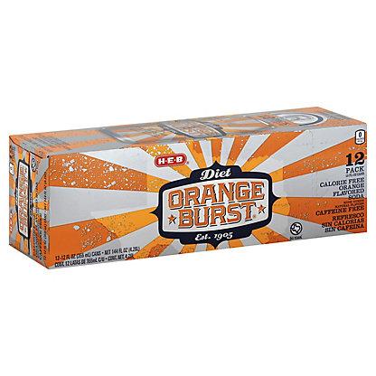 H-E-B Diet Orange Burst Soda 12 oz Cans, 12 pk