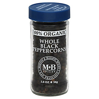 Morton & Bassett 100% Organic Whole Black Peppercorns, 2 oz