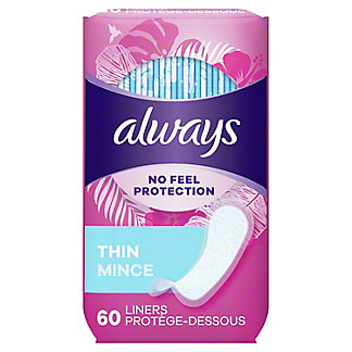 Always Thin Daily Liners Unscented Wrapped Regular, 60 ct