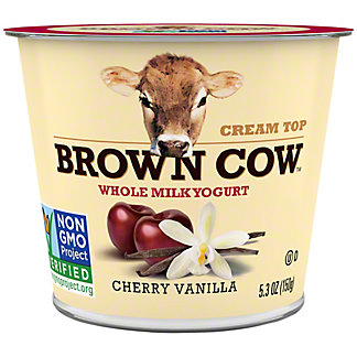 Brown Cow Cream Top Cherry Vanilla Cherry Whole Milk Yogurt, 6 oz