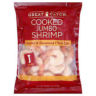 Great Catch Cooked Jumbo Peeled and Deveined Shrimp, 26-30 Count,16 OZ