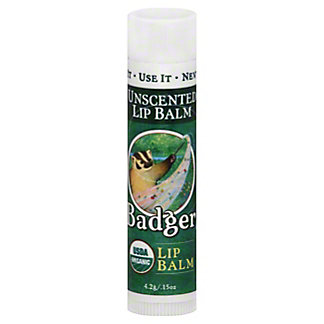 Badger Lip Balm Stick Unscented,.15 OZ