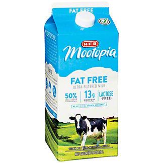 H-E-B MooTopia Lactose Free Fat Free Milk, 1/2 gal