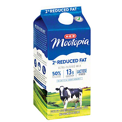 H-E-B MooTopia Lactose Free 2% Reduced Fat Milk, 1/2 gal