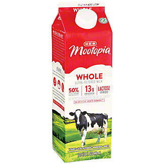 H-E-B Select Ingredients MooTopia Lactose Free Whole Milk, 1 qt