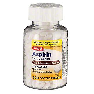 H-E-B Aspirin 325 Mg Coated Tablets, 300 ct