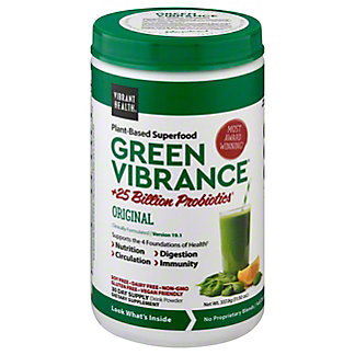 Vibrant Health Green Vibrance Organic Greens And Freeze Dried Grass Juices Powder, 12 oz