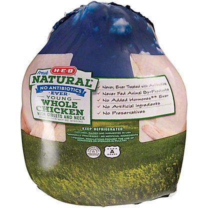 H-E-B Natural Whole Chicken