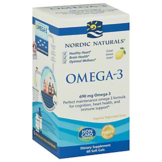 Nordic Naturals Omega-3 Purified Fish Oil 1000 mg Soft Gels, Lemon,60 CT