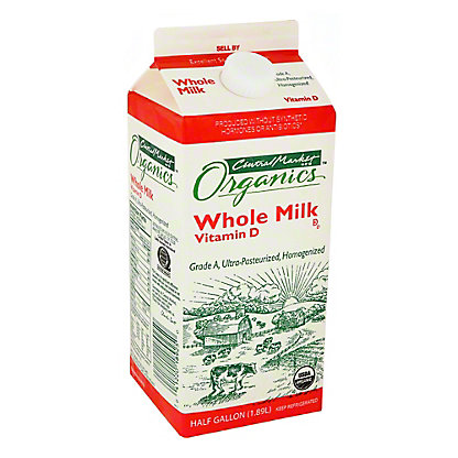 Central Market Organics Vitamin D Whole Milk, 1/2 gal