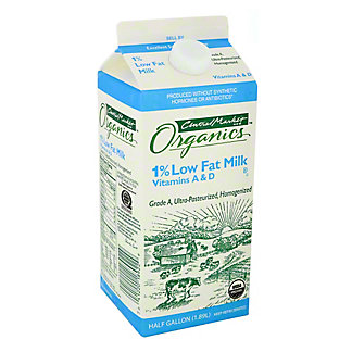 Central Market Organics 1% Low Fat Milk, 1/2 gal