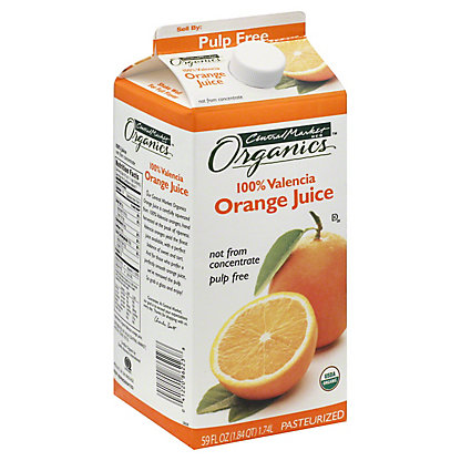 Central Market Organics 100% Pulp Free Valencia Orange Juice, 59 oz