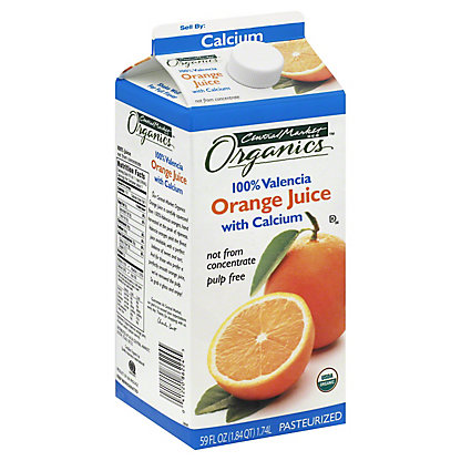 Central Market Organics 100% Pulp Free Valencia Orange Juice With Calcium, 59 oz