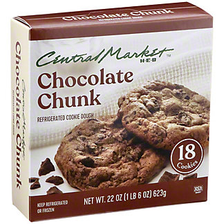 Central Market Refrigerated Chocolate Chunk Cookie Dough,18 CT
