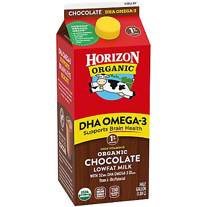 Horizon Organic Lowfat Chocolate 1% Milkfat Milk With DHA Omega-3, 1/2 gal