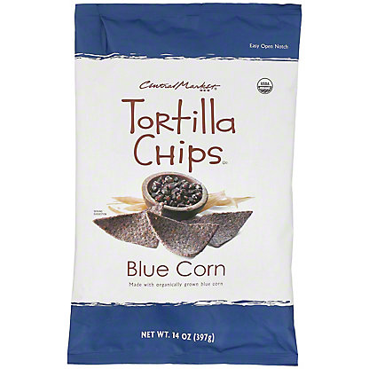 Central Market Organics Blue Corn Tortilla Chips With Sea Salt, 14 oz
