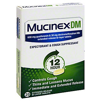 Mucinex DM 12 Hour Expectorant & Cough Suppressant Extended Release Bi-Layer Tablets,20 CT