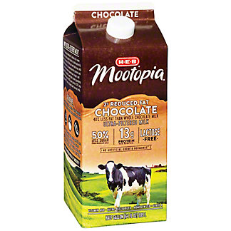 H-E-B MooTopia Lactose Free 2% Reduced Fat Chocolate Milk, 1/2 gal