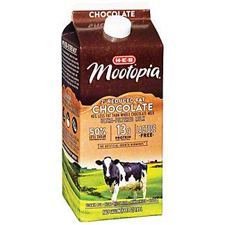H-E-B MooTopia Lactose Free 2% Reduced Fat Chocolate Milk, 1/2 gal