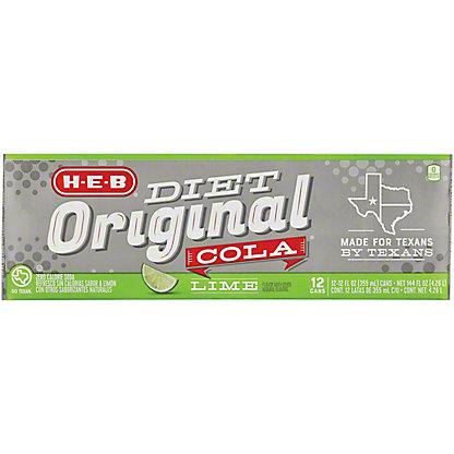 H-E-B Diet Original Cola with Lime 12 oz Cans, 12 pk
