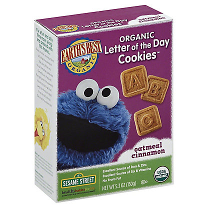 Earth's Best Organic Letter of The Day Sesame Street Oatmeal Cinnamon Cookies, 5.3 oz