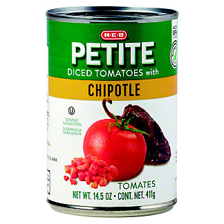 H-E-B Select Ingredients Petite Diced Tomatoes with Chipotle, 14.5 oz