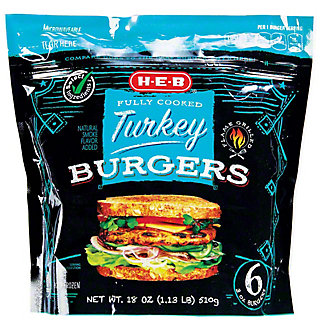 H-E-B Fully Cooked Turkey Burgers,6 CT