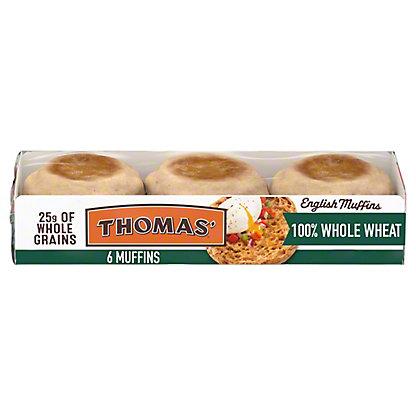 Thomas' Hearty Muffins 100% Whole Wheat English Muffins, 6 ct