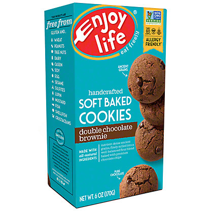 Enjoy Life Gluten Free Allergy Friendly Double Chocolate Brownie Soft Baked Cookies, 6 oz