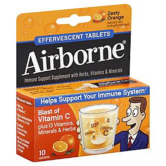 Airborne Immune Support Supplement Zesty Orange Effervescent Tablets,10 CT