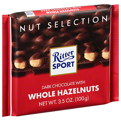 Ritter Sport Dark Chocolate With Whole Hazelnuts, 3.5 oz