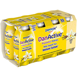 Dannon DanActive Vanilla with Other Natural Flavor Family Size Probiotic Dairy Drink,8 ct