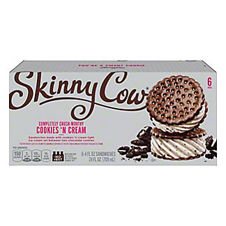 Skinny Cow Low Fat Ice Cream Sandwiches, Cookies 'N Cream,6 CT