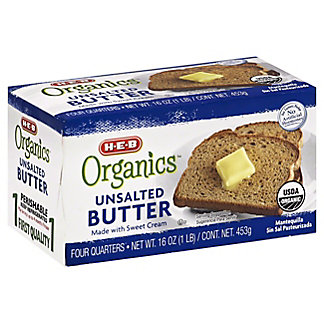 H-E-B Organics Unsalted Butter, 16 oz