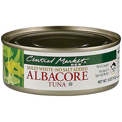 Central Market Solid White Albacore Tuna No Salt Added, 5 oz