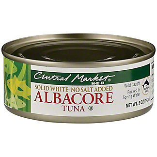 Central Market Solid White Albacore Tuna No Salt Added, 5 oz