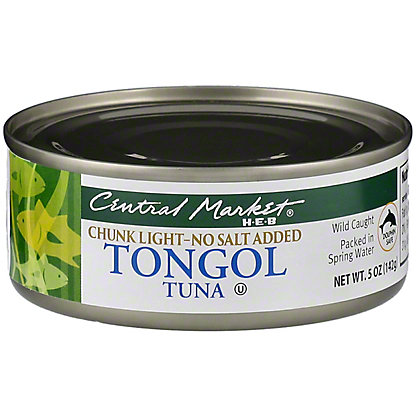 Central Market Chunk Light Tongol Tuna No Salt Added, 5 oz
