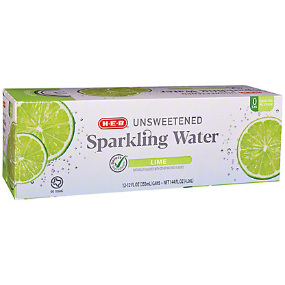 H-E-B Sparkling Natural Lime Water Beverage 12 PK, 12 oz