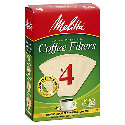 Melitta Cone Coffee Filters, No. 4, Natural Brown,100 CT