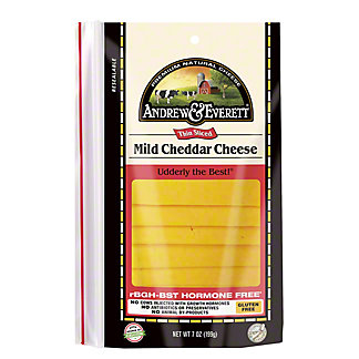 Andrew & Everett Mild Cheddar Cheese Slices, 7 OZ