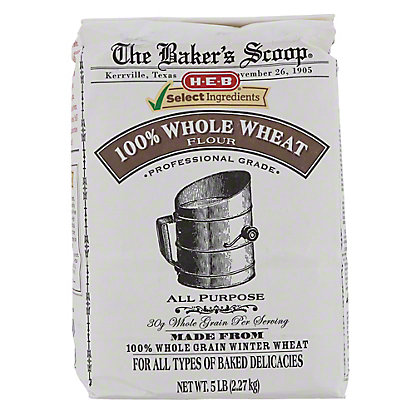H-E-B Select Ingredients Baker's Scoop 100% Whole Wheat Flour,5 LBS