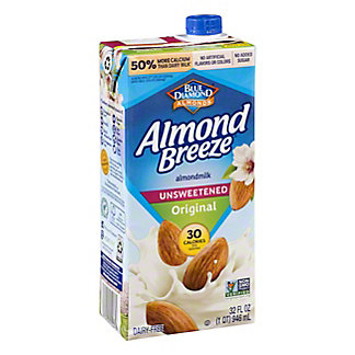 Blue Diamond Almond Breeze Unsweetened Original Almond Milk, 32 oz