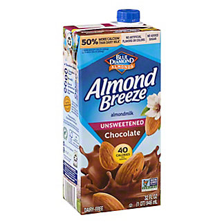 Blue Diamond Almond Breeze Unsweetened Chocolate Almond Milk, 32 oz