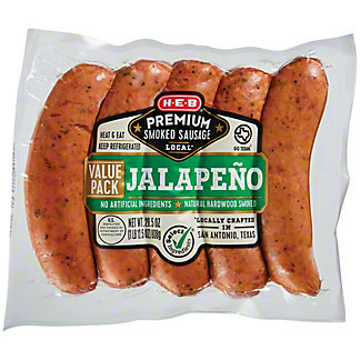 H-E-B Premium Spicy Jalapeno Smoked Sausage Value Pack,LB