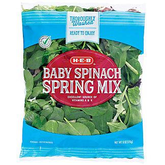 H-E-B Baby Spinach & Spring Mix, 6 oz